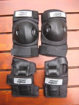 Set Protektoren Protektorenset Ellenbogen Hände Streetfighter Skater Rollschuhe