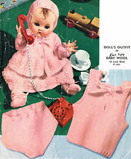 """Dolls clothes knitting pattern for 16"""" Baby doll. (V Doll 102)"""
