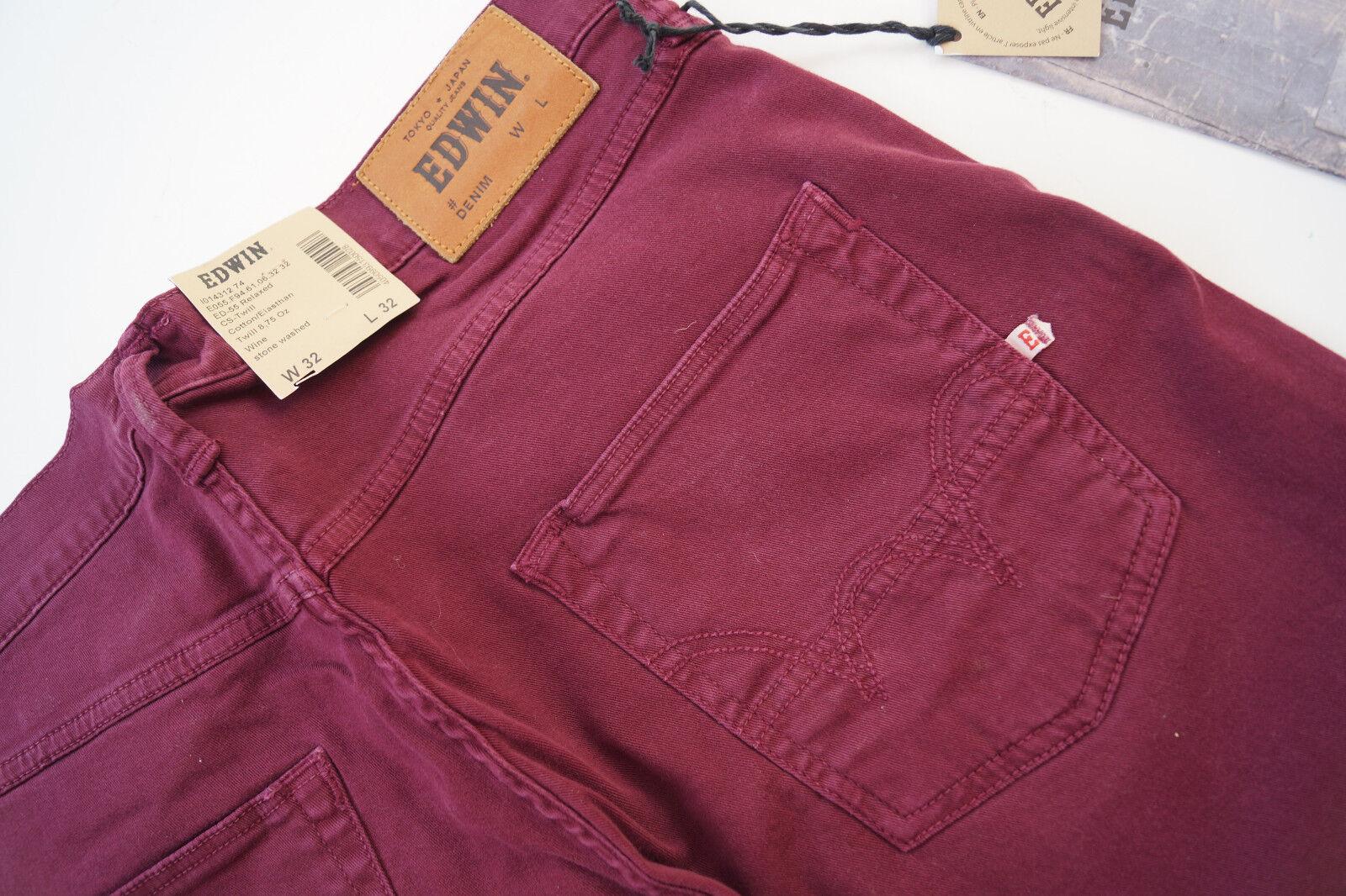 EDWIN Herren Men Jeans comfort Hose Relaxed stretch stretch stretch 32 32 W32 L32 bordeaux NEU 2f9d32
