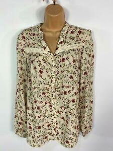 WOMENS-LAURA-ASHLEY-BEIGE-FLORAL-SOFT-LONG-SLEEVE-CASUAL-SHIRT-BLOUSE-TOP-UK-8