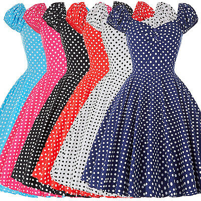 VINTAGE Style Polka Dots Swing 50s 60s pinup Prom Tea HOUSEWIFE Dress