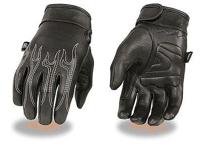 Black Leather FINGERLESS Gloves ORANGE FLAMES Gel Palm Motorcycle Biker Rider