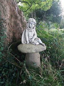Image Is Loading STONE GARDEN LARGE FAIRY SAT ON TOADSTOOL MUSHROOM