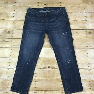Express-Womens-Crop-Jeans-Size-6-Relaxed-Fit-Low-Rise-Dark-Wash-Distressed