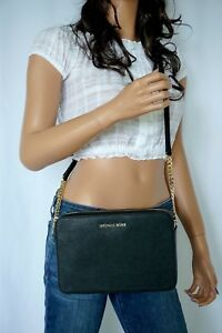 NWT-MICHAEL-KORS-JET-SET-LARGE-EAST-WEST-SAFFIANO-LEATHER-CROSSBODY-BAG-BLACK