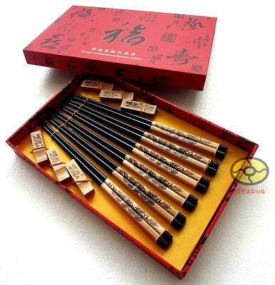 SET 6 Pairs Chopsticks//Rests//Gift Box wood Pyrograph Carved Chinese Dragon style