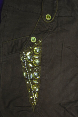 BN Ladies Brown or Khaki Diamante Crop Trousers Pants /& Base Leggings UK 8//10