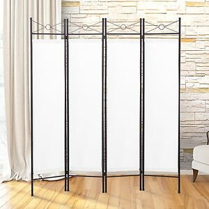 Image Is Loading 4 Panel Screen Room Divider Fabric Metal Frame