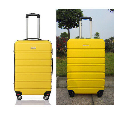 Hard Shell Rolling Luggage Suitcase Bag 4 Wheels ABS Travel Cabin Carry On Case