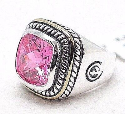Sterling Silver Ring with Pink Multifaceted CZ Stone