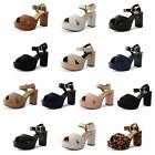 New Womens Ladies Platform High Chunky Heel Peep Toe Ankle Strap Sandals Shoes