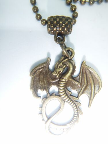 ANTIQUE GOLD TONE WINGED DRAGON ON A 24/'/' CHAIN NECKLACE G.O.T ORGANZA GIFT BAG