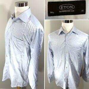 ETON-OF-SWEDEN-Ganghester-Solid-Light-Blue-Dress-Shirt-Mens-Sz-16-5-42