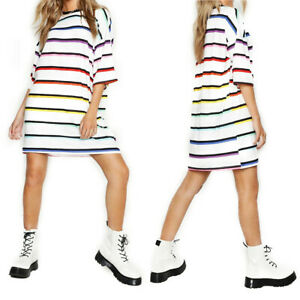 Womens-Boyfriend-Stripe-Oversized-T-Shirt-Dress-Casual-Tee-Baggy-Loose-Long-Tops