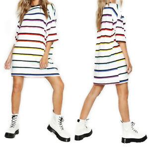 Womens-Boyfriend-Stripe-Oversized-T-Shirt-Dress-Casual-Tee-Baggy-Loose-Long-Tops