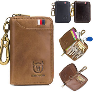 Genuine-Leather-Key-Case-Wallet-Card-Holder-Car-Key-Ring-Chain-Cash-Pocket