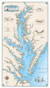 Original chesapeake bay chart paper nautical art print map ebay