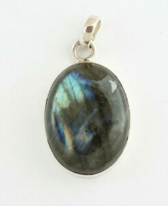 Labradorite Pendant Precious Stone 925 Silver Jewelry Blauschimmer Oval Noble