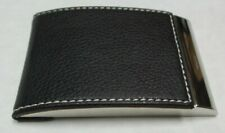 Visol V632b Samoa Black Leather And Stainless Steel Business Card Case