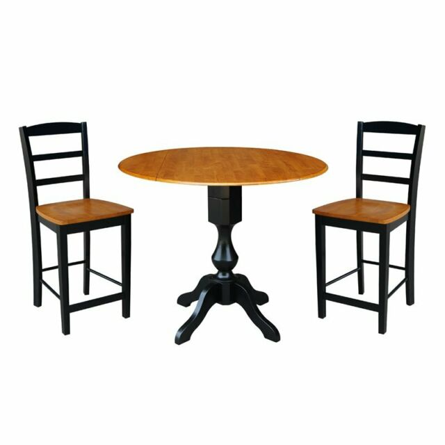 42 Round Pedestal Gathering Height Table With 2 Counter Stools