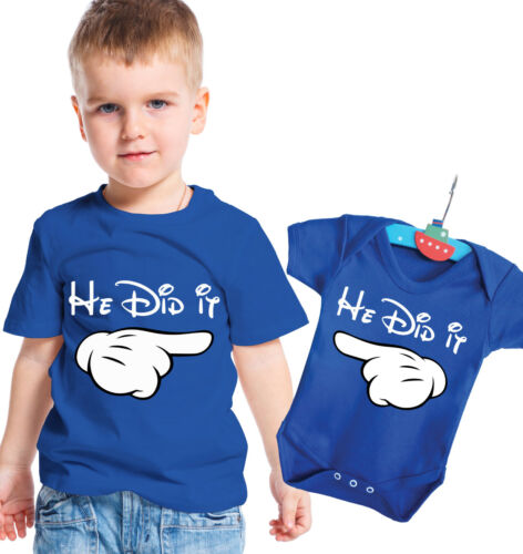 Big brother t-shirt and baby brother body grow set He did it He did it