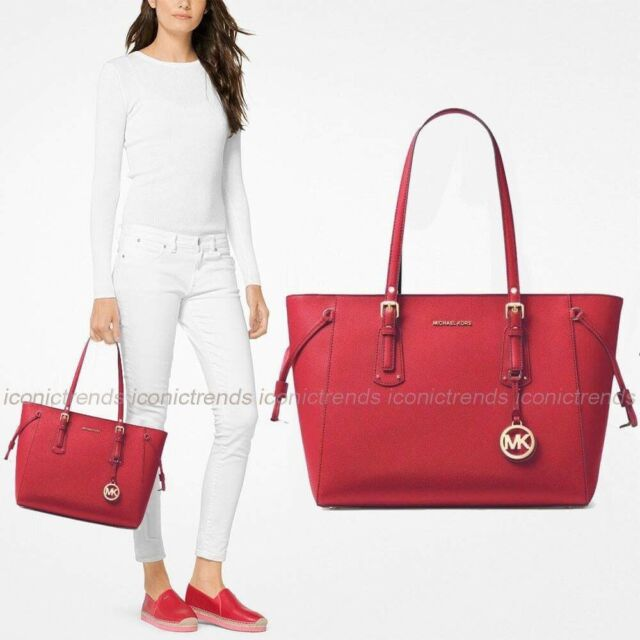 e1c68aa4c0d6 ... cheapest michael kors voyager medium multifunction top zip leather tote  bright red 341cd d308d