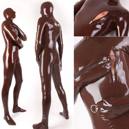 Rubber Catsuit Bodysuit Masquerade cospay Coffee Tights Party XXS-XXL
