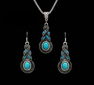 New-Tibetan-Silver-Blue-Turquoise-Chain-Crystal-Pendant-Necklace-Fashion-Jewelry