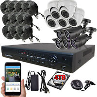 Sikker 16 Channel Dvr 10 Pcs 2 Megapixel Hd 1080p Security Camera System Kit 4tb