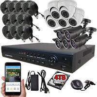 Sikker 16 Channel Dvr 10 Pcs 2 Megapixel Hd 1080p Security Camera System Kit 4tb