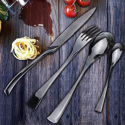 4X 304 Stainless Steel Dinnerware Black Cutlery Set Cutter Fork Spoon Teaspoon