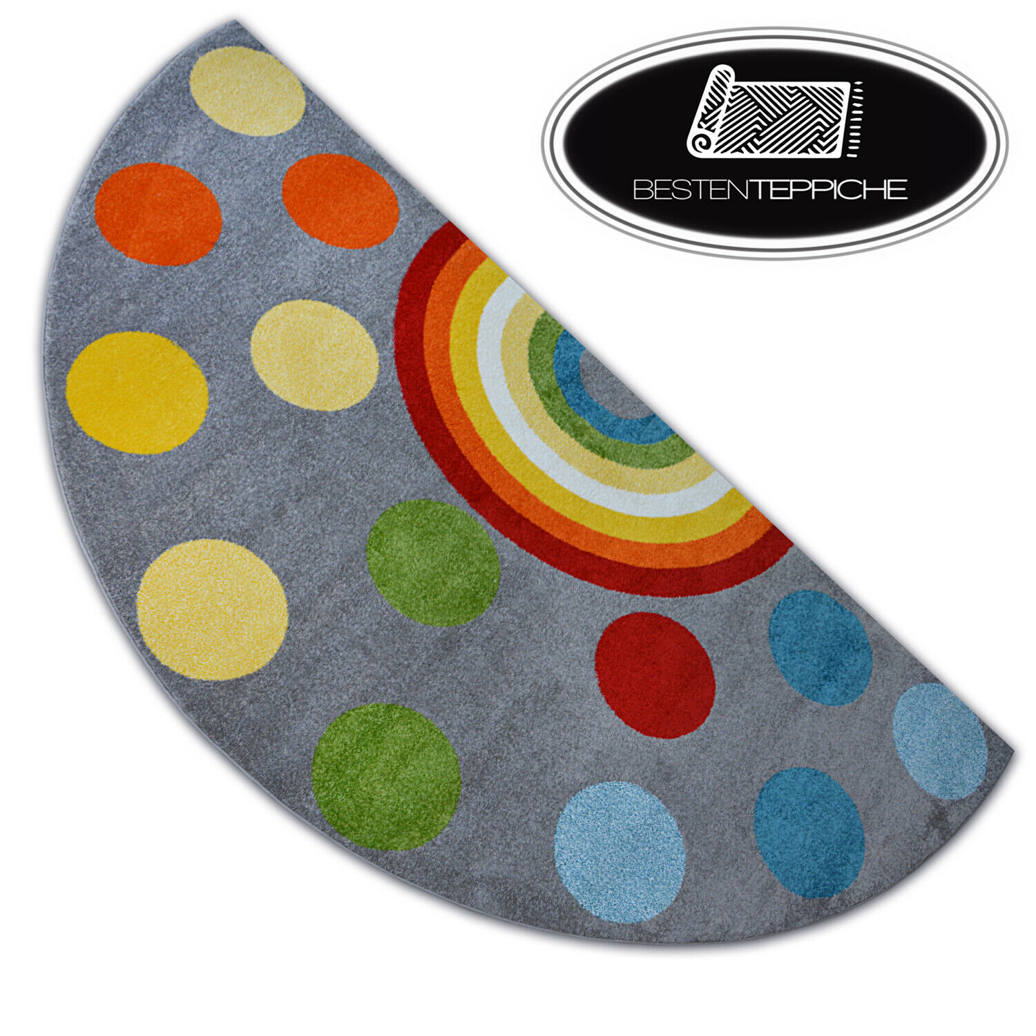 Modern Rugs Paint Grey Semicircle Rainbow For Kids