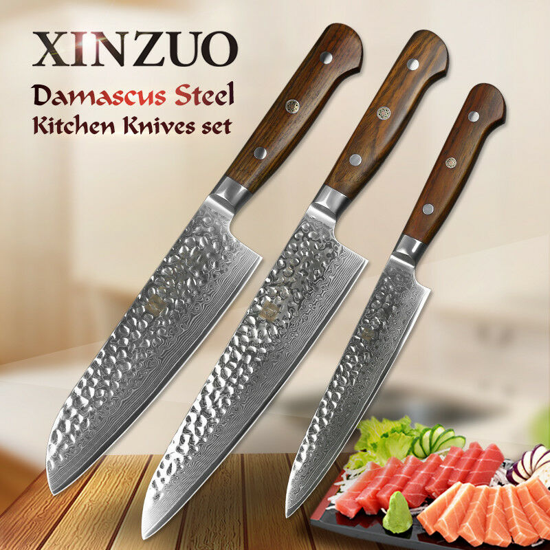 3Pcs Kitchen Kitchen Kitchen Knife Set 67 Layers Damascus Steel Chef Knives Utility Santoku Cut c0a676