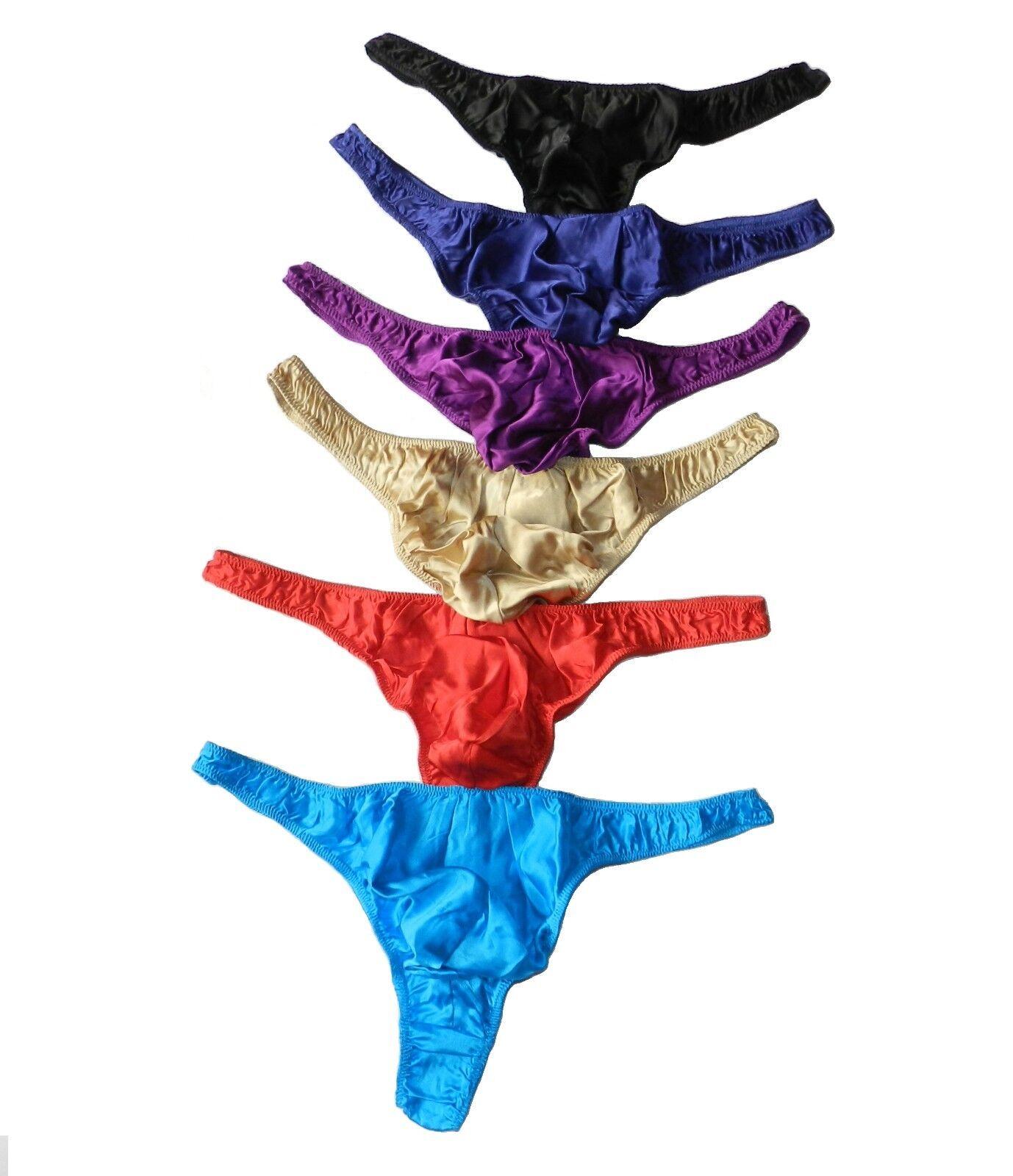 100% mulberry Silk 6 Pairs  Men's Thong Briefs Size M L XL XXL