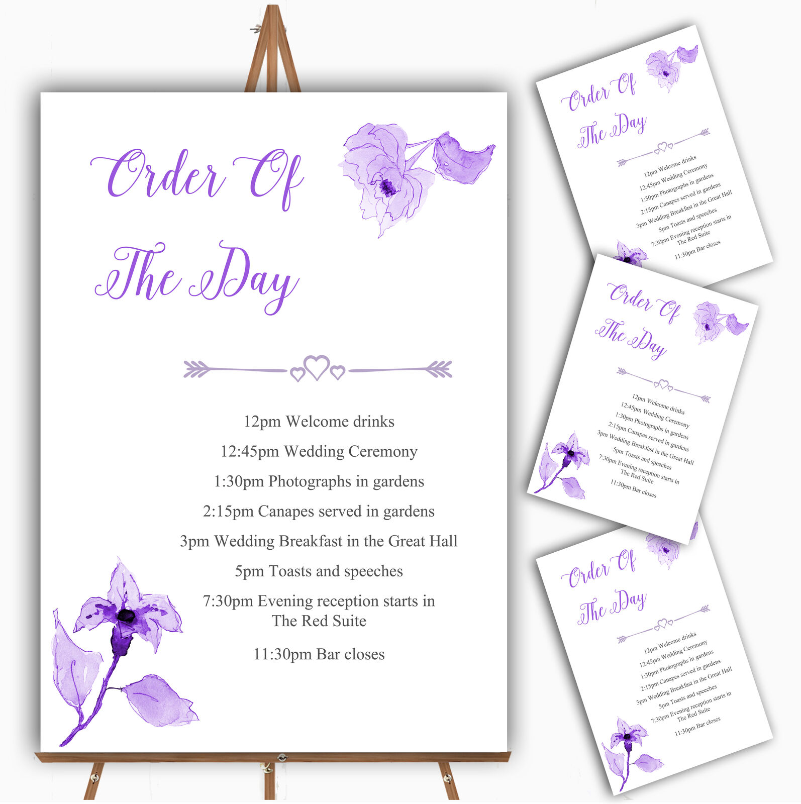 Beautiful Cadbury lila Watercolour Flowers Wedding Order Of The Day Cards
