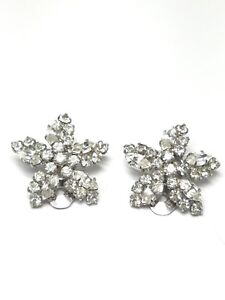 Austria-Rhinestone-Star-Shaped-Earrings-Vintage-Clip-On-Gorgeous