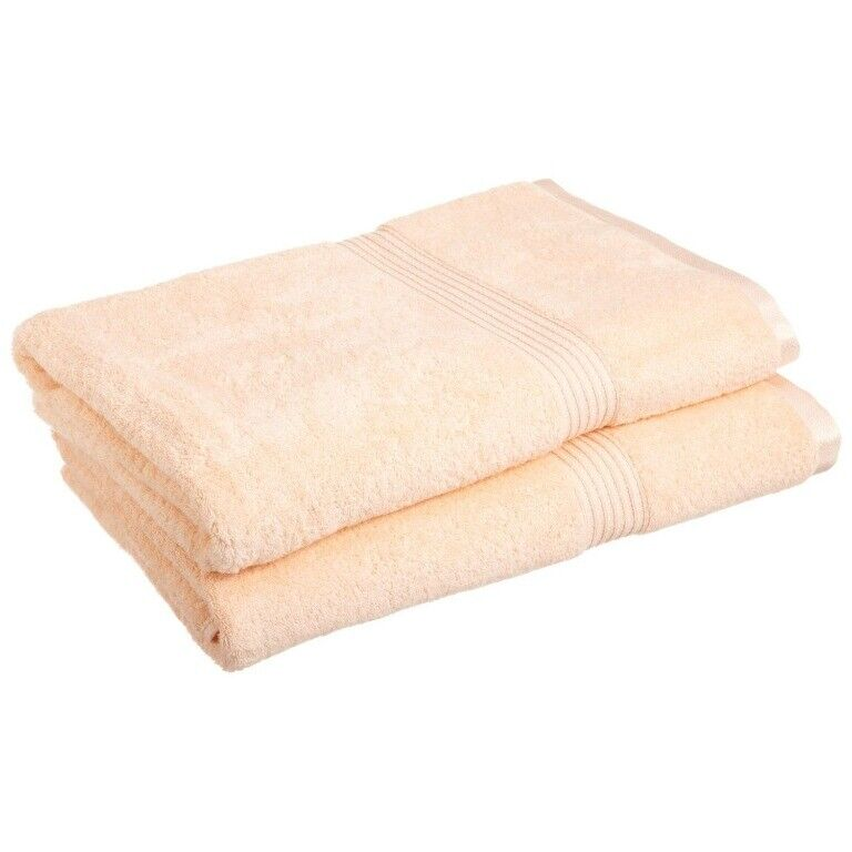 2-Piece Peach Superior 600 GSM Egyptian Cotton Bath Sheet Towel Set 1-Ply