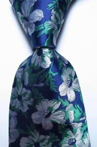 New-Classic-Floral-Blue-Gray-White-JACQUARD-WOVEN-100-Silk-Men-039-s-Tie-Necktie