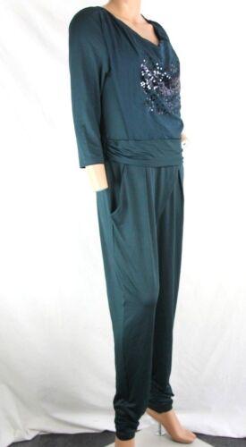Biba Damen Jumpsuit Overall grün dark petrol Pailletten