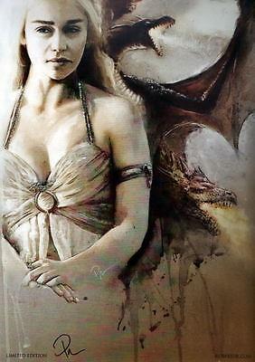 DAENERYS TARGARYEN Mother Of Dragons Print HAND SIGNED by ROB PRIOR w COA