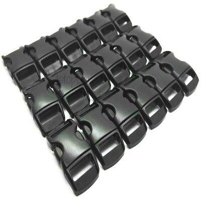 10 X 10mm 3/8 Sagomato Curvo Fibbie Nero Fettuccia Paracord Bracciale Fibbia