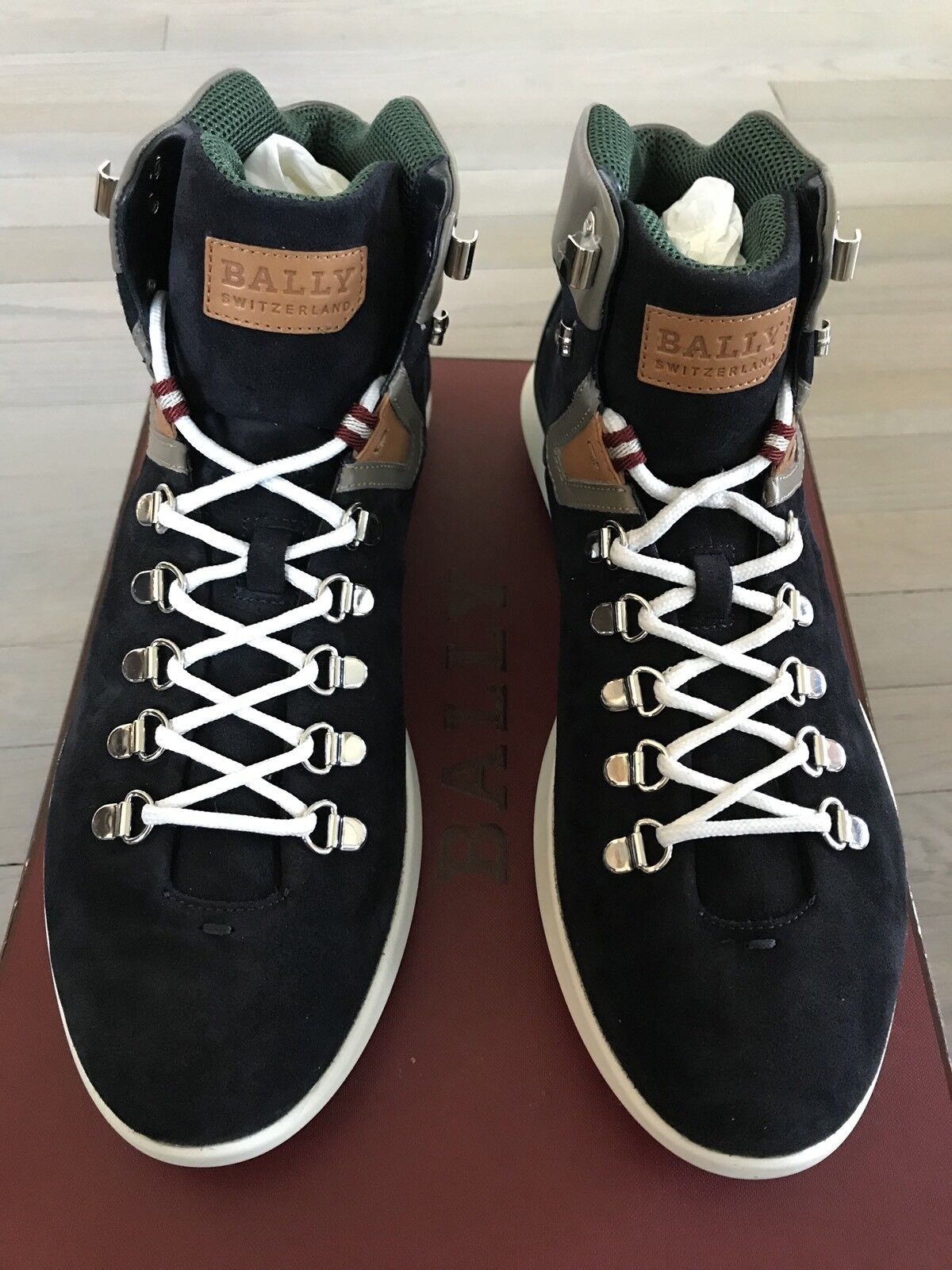 700  Bally Avyd Navy Blue Suede 12 High Tops  size US 12 Suede Made in Italy 5fda76