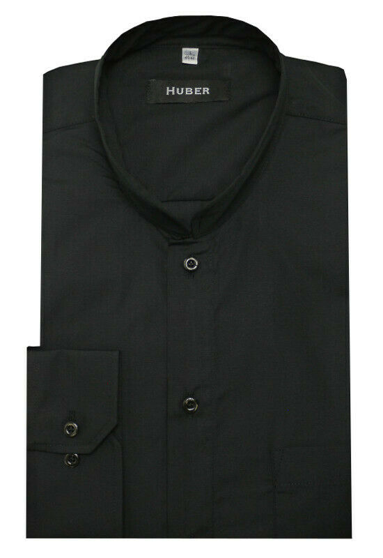 HUBER Stehkragen Hemd black Asia Mao Kragen Produktion in EU. HU-90036 Regular
