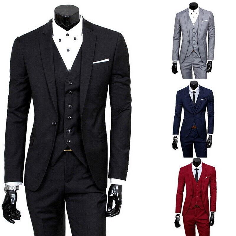 3Pcs Mens Formal Blazer Suit Jacket jacket Vest Waistcoat Trousers for Wedding