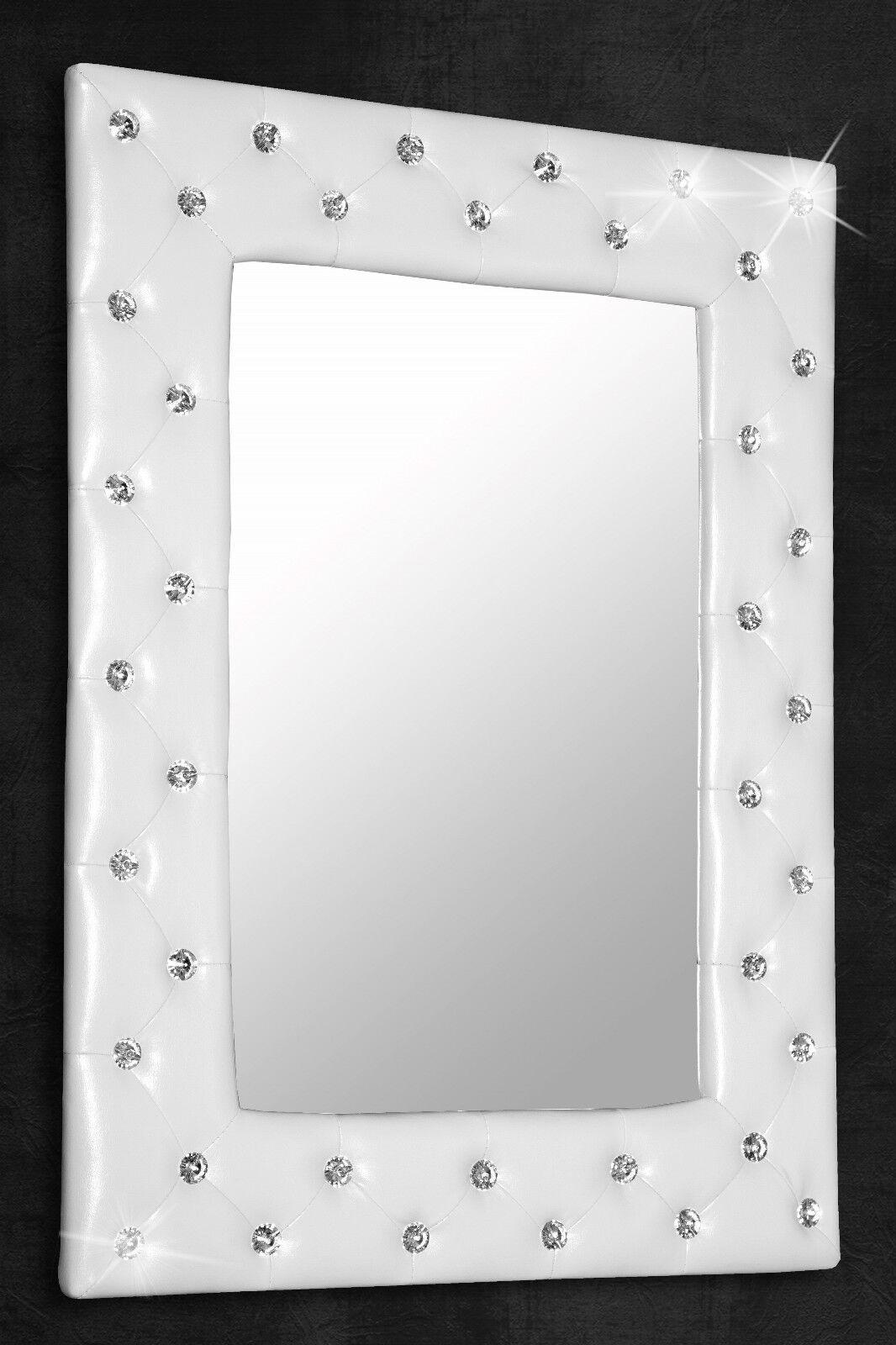 Wandspiegel Spiegel Weiß mit Strassknöpfen 80x60 cm Shabby Chic SPECCHIERA NEU