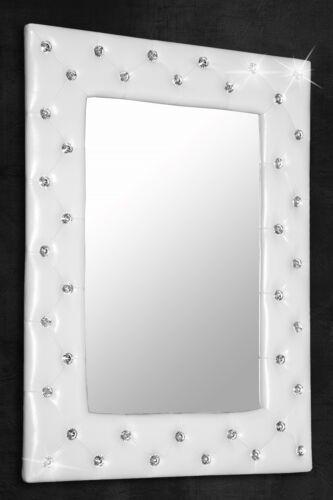 Miroir mural miroir blanc avec strass boutons 80x60 cm shabby chic specchiera NEUF