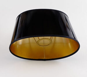 lampenschirm elegant schwarz gold lack oval f r tischlampen e27 hochwertig ebay. Black Bedroom Furniture Sets. Home Design Ideas