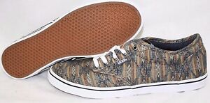NEW Womens VANS Atwood Low Tan Blue Southwest Look Canvas Sneakers ... 63904bb10