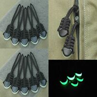 (10) Paracord Zipper Pulls - 550 Paracord Glow In The Dark Cord Ends - Black