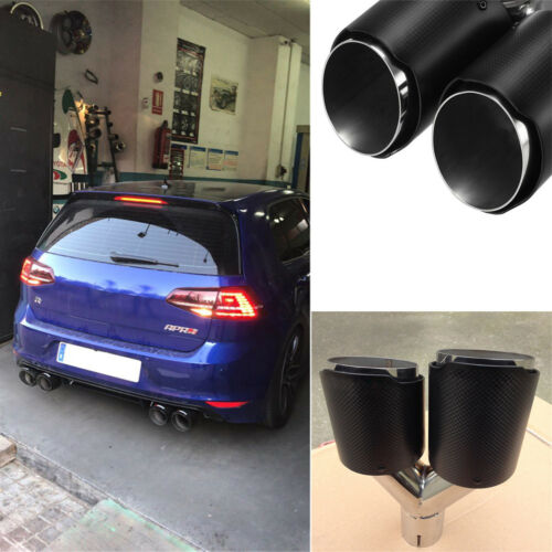 63mm Inlet Car Auto Carbon Fiber Exhaust Pipe Dual Tips Muffler Stainless Steel